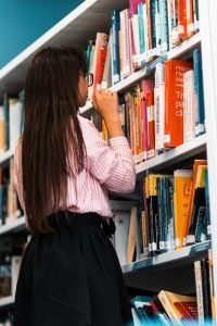 pupil in school library